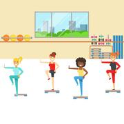 Aerobics Class With Step Equipment , Member Of The Fitness Club Working Out And Stock Illustration