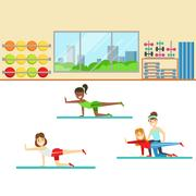Yoga Class With Trainer Helping And Correcting , Member Of The Fitness Club Stock Illustration