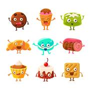 Sweet Dessert Pastry Childish Cartoon Characters Set With Cookies, Cakes Stock Illustration
