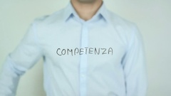 Competenza, Competence, Writing in Italian on Transparent Glass Stock Footage