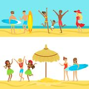 Happy People On Tropical Beach Vacation In Hawaii Surfing And Staying Next To Stock Illustration