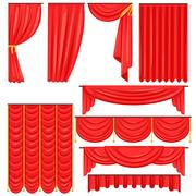 Different Types Of Theatrical Stage Curtain And Drapes In Red Velour Vector Stock Illustration