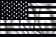 Black and White American Flag. Rectangular Shaped Icon with Wavy Effect. As.. Piirros