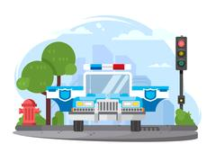 Police car with flasher Stock Illustration