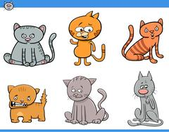 Cat cartoon characters set Stock Illustration