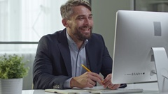 Businessman Making Video Call over Web Stock Footage