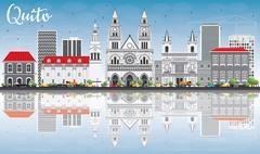 Quito Skyline with Gray Buildings, Blue Sky and Reflections. Stock Illustration