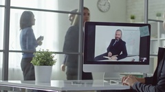 Video Chatting with Boss Stock Footage