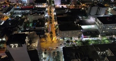 Aerial drone video Lincoln Road and Collins Avenue Stock Footage