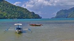 Tourist Boat In The Beautiful Tropical Beach In El Nido, Palawan Stock Footage