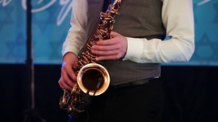 Jazz musician playing the saxophone , playing the saxophone Stock Footage