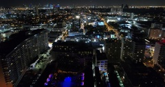 Aerial footage olluminated city at night Stock Footage