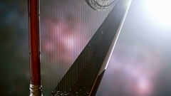 Classical wooden harp with gold Stock Footage