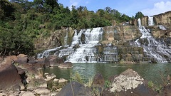 Beautiful Pongour waterfall in Vietnam Stock Footage
