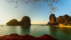 Sunset on the Railay beach,Phra Nang, Krabi, Thailand. Stock Footage