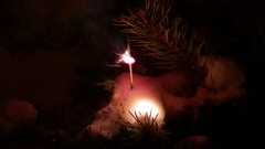 Bright sparkler stick at pine branch, quickly burn and fast slake out Stock Footage