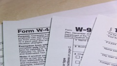 Taxes Form On The Table For Business Stock Footage