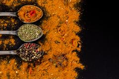 Herbs and spices selection - cooking, healthy eating Stock Photos