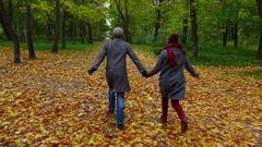 Happy couple run away at dusk autumn park, POV camera follow behind Stock Footage