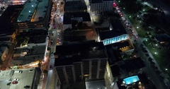 Aerial footage Miami Beach Ocean Drive and Collins Avenue Stock Footage
