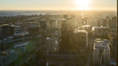 Aerial view of Melbourne City during epic sunset Stock Footage