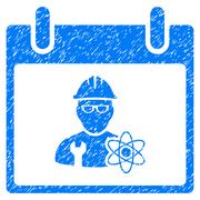 Atomic Engineer Calendar Day Grainy Texture Icon Stock Illustration
