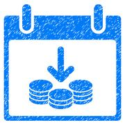 Coins Income Calendar Day Grainy Texture Icon Stock Illustration