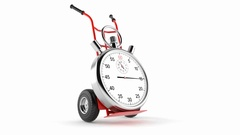 Hand truck with stopwatch isolated on white background Stock Footage