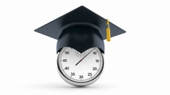 Stopwatch with graduation hat Stock Footage