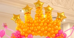 Archway of baloons Happy birthday decoration Stock Footage