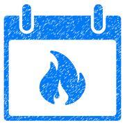 Flame Calendar Day Grainy Texture Icon Stock Illustration