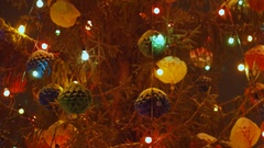 Beautiful, big, tall, decorated Christmas tree with Christmas toys, balls Stock Footage