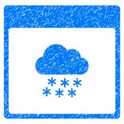 Snow Cloud Calendar Page Grainy Texture Icon Stock Illustration