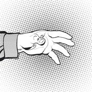 Man asking. Man calling for something. Man inquire for something. Man's hand. Stock Illustration