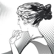 Young  women, a look from the back. A pretty women. Pretty young women Stock Illustration