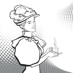 Woman with a cup of tea. Woman having pleasure from the delicious drink. Stock Illustration