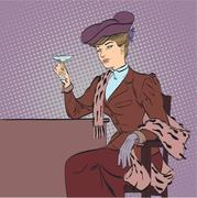 Retro woman with a glass of wine. Pop art retro style illustration. Stock Illustration