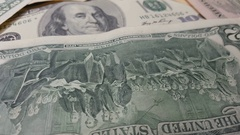 Rotation paper money. US dollars bank notes Stock Footage