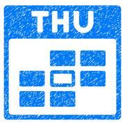 Thursday Calendar Grid Grainy Texture Icon Stock Illustration