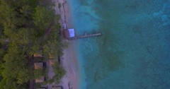 Overwater bungalow aerial view.  Stock Footage