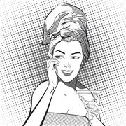 A young girl with a towel on her head talking on the phone drinking a martini Stock Illustration