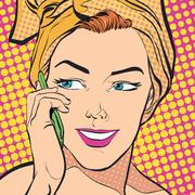 Beautiful young woman. Women speahing by mobile phone. Stock Illustration