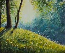 Original oil painting of sunny clearing in the summer forest Stock Illustration