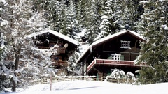 Mountain lodges in winter Stock Footage