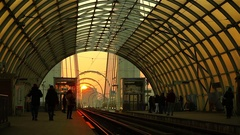 Modern station, with steel and glass structure, at sunset. Urban scene. Stock Footage