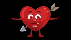 Cartoon Heart With Arrow. 13th Pose Pointer Double with Animated Face. Alpha Stock Footage