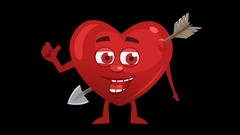Cartoon Heart With Arrow. 5th Pose Good with Animated Face. Alpha Channel Stock Footage