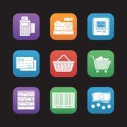 Supermarket flat design icons set Stock Illustration