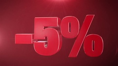 """ 5% Sale "" Animation Promotions In Red Text Seamlessly loopable Background Stock Footage"