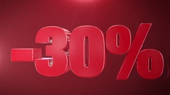 """"""" 30% Sale """" Animation Promotions In Red Text Seamlessly loopable Background Stock Footage"""